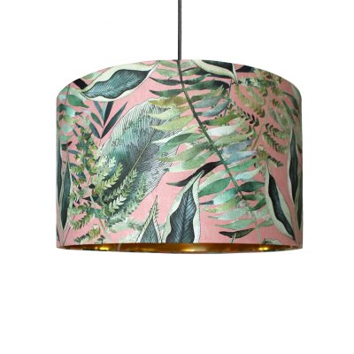 Blush Tropical Gold Lined Lampshade