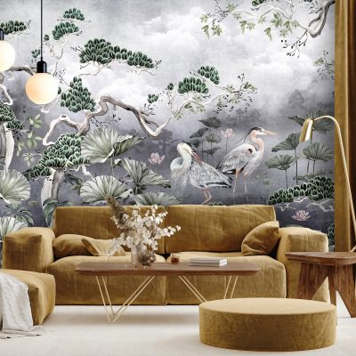 Silver Orient Wall Mural