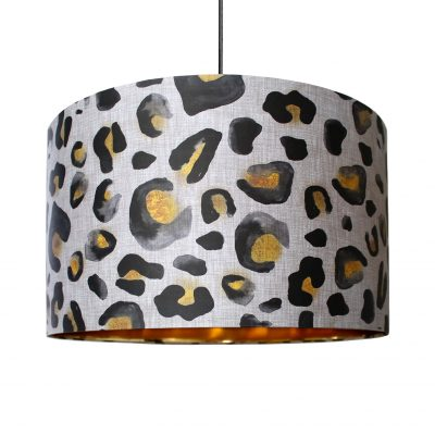 Natural Inky Leo Gold Lined Lampshade